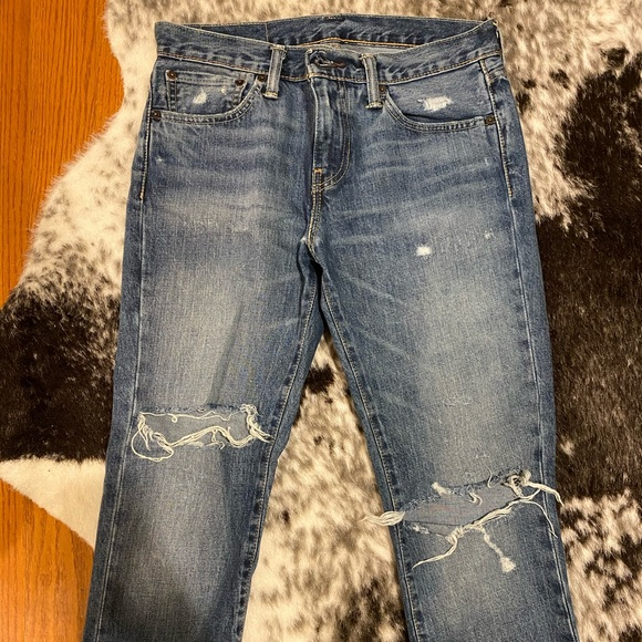 Levi 511 Mens Ripped Medium Wash Jeans 31/32